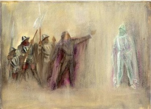 Costume Sketch for Hamlet Act I featuring father of Hamlet and Spirit Warriors